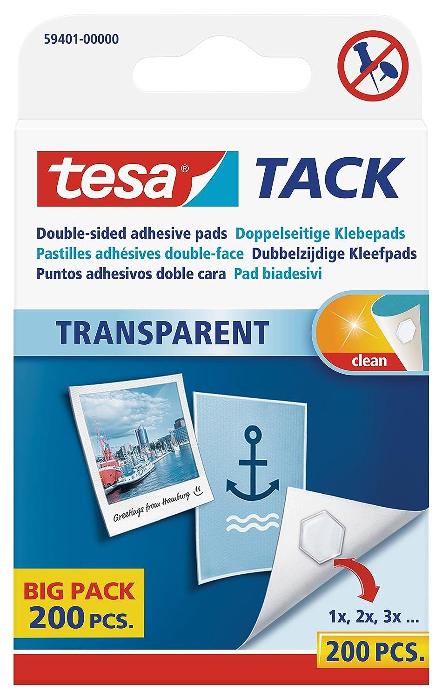 Tesa 59401-00000-00 Tack - Lote de almohadillas adhesivas (200 unidades), transparente: Amazon.es: Oficina y papelería