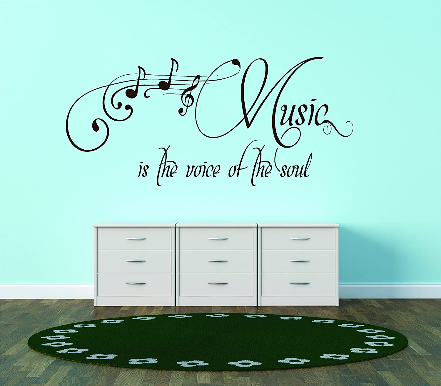 Design with Vinyl Music Is The Voice Of The Soul Picture Art - Living Room - Peel And Stick Sticker - Vinyl Wall Decal, 10-Inchx30-Inch, Black Design with Vinyl - CA Design 451 - Black