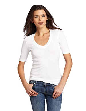 1X1 3/4 Sleeve V Neck Tee, 1X1 3/4 Sleeve V Neck Tee, Large