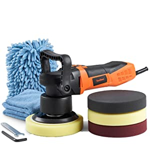 """VonHaus 6"""" Dual Action Buffer Polisher Machine with 6 Variable Speeds, Random Orbit and 4 Pads for Polishing, Wash Mitt, Microfiber Cloth and Carrying Bag - Ideal for Cars, Boats and Tiles"""
