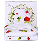 Bambi Bamboo Baby Hooded Towel for Sensitive Skin   Super Soft, Absorbent and Hypoallergenic   Strawberry, 2 Layers Reversible  Sized for Infant and Toddler