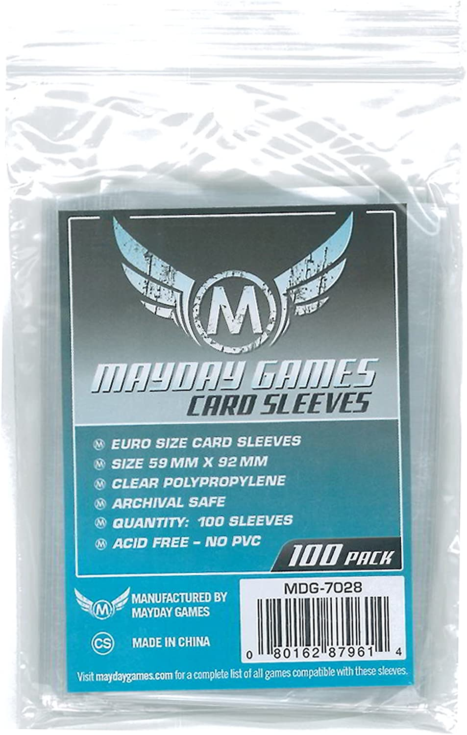 100 MDG7028 Mayday Games Inc Sleeves Euro Card Sleeves 59mm x 92mm