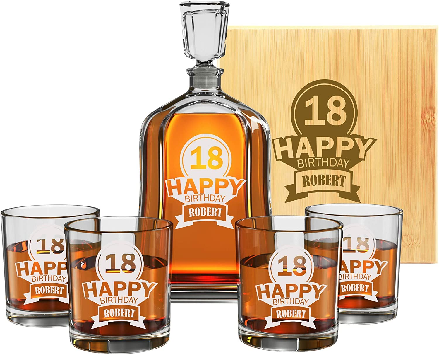Premium Custom Engraved Whiskey Decanter Set - Multiple Design & Gift Set Options - Perfect Birthday Present for Dad, Brother, Boss, Men, Guys - Customize Any Age or Year - by Froolu