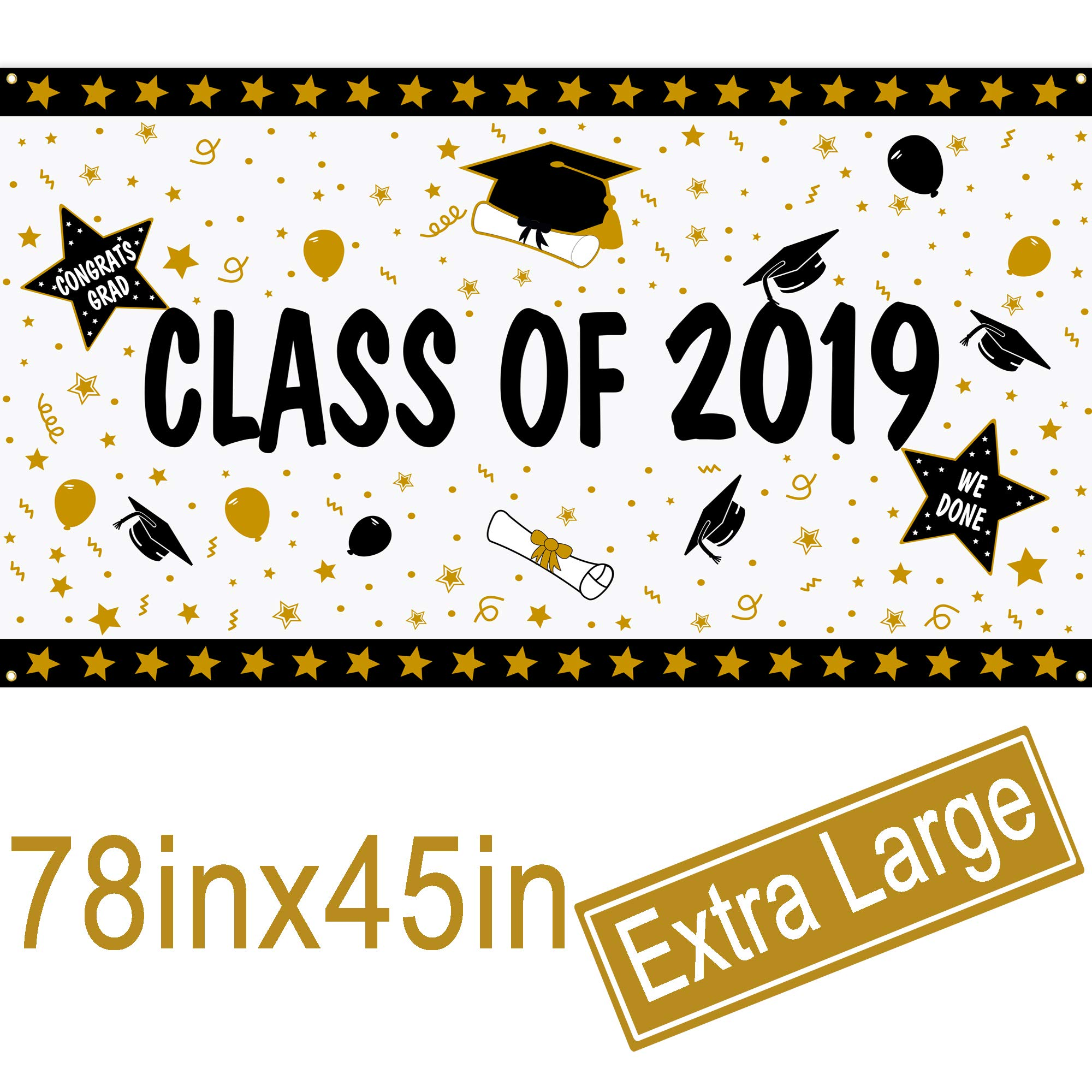 Graduation Banner - Extra Large 78'' x 45''- Class Of 2019 Graduation Backdrop Banner - 2019 Graduation Party Decorations Supplies - 2019 Congrats Grad Photo Booth Backdrop