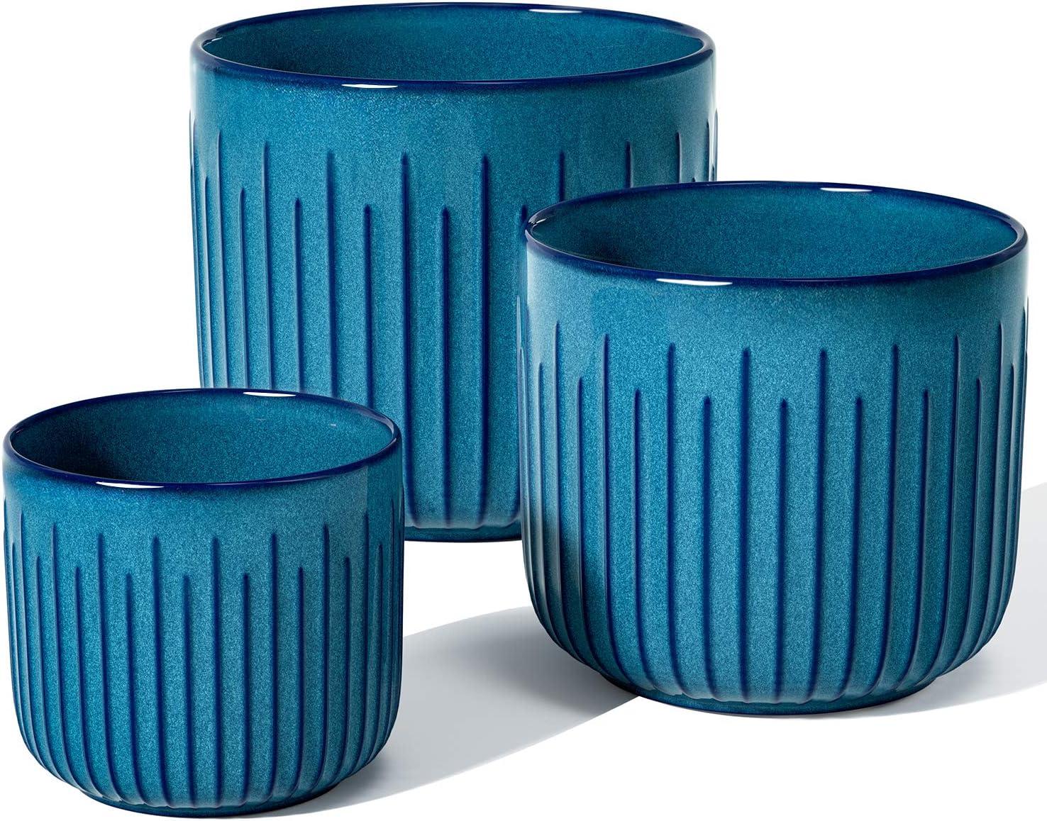 LE TAUCI Plant Pots, Large Planter Ceramic, 8.3+6.9+5.7 inch Flower Pot for Plants with Drainage Holes, Garden Planters Outdoor, Indoor House Plants, Set of 3, Reactive Glaze Blue