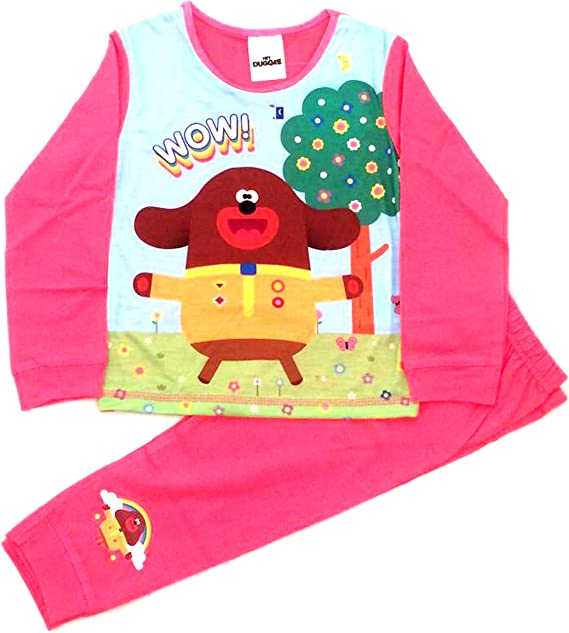 The PyjamaFactory Girls Official by Hey Duggee Happy Happy Rainbow Long Pyjamas w19
