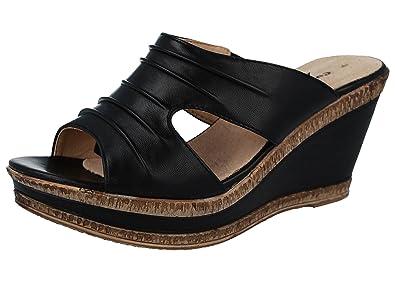 627209fdd Ladies Cushion Walk Leather Lined Peep Toe Mid Wedge Heel Slip On Mules  Sandals Size 3