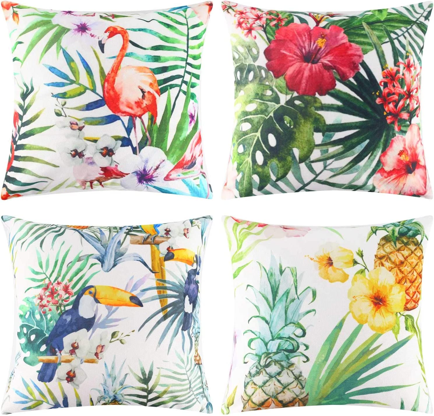 JOHOUSE 4PCS Flamingo Throw Pillow Covers Decorative Tropical Leaves Toucan Parrot Pattern Cushion Covers for Patio Sofa Couch Summer Holiday Home Decoration,18 X 18 Inch