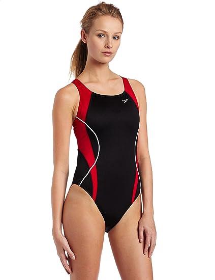 142403122a Amazon.com   Speedo Women s Race Optik Splice Drop Back Swimsuit ...
