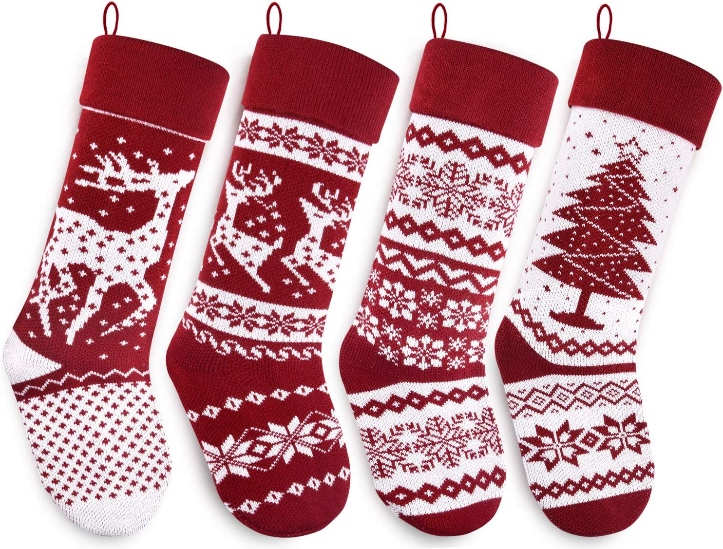 Starry Dynamo Knit Christmas Stockings 21-Inch Long Red/White with Big & Little Reindeer, Snowflakes, Xmas Tree 4-Pack (Big & Little Reindeer, Snowflakes, Xmas Tree)