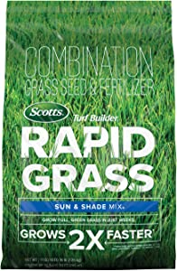 Scotts Turf Builder Rapid Grass Sun & Shade Mix: up to 8,000 sq. ft., Combination Seed & Fertilizer, Grows in Just Weeks, 16 lbs