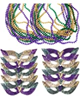 Mardi Gras Face Mask & Bead Necklaces