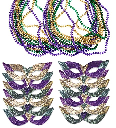 Mardi Gras Face Mask & Beads   Mardi Gras Mask Bulk   Mardi Gras Necklaces   Mardi Gras Costumes By Funny Party Hats by Funny Party Hats