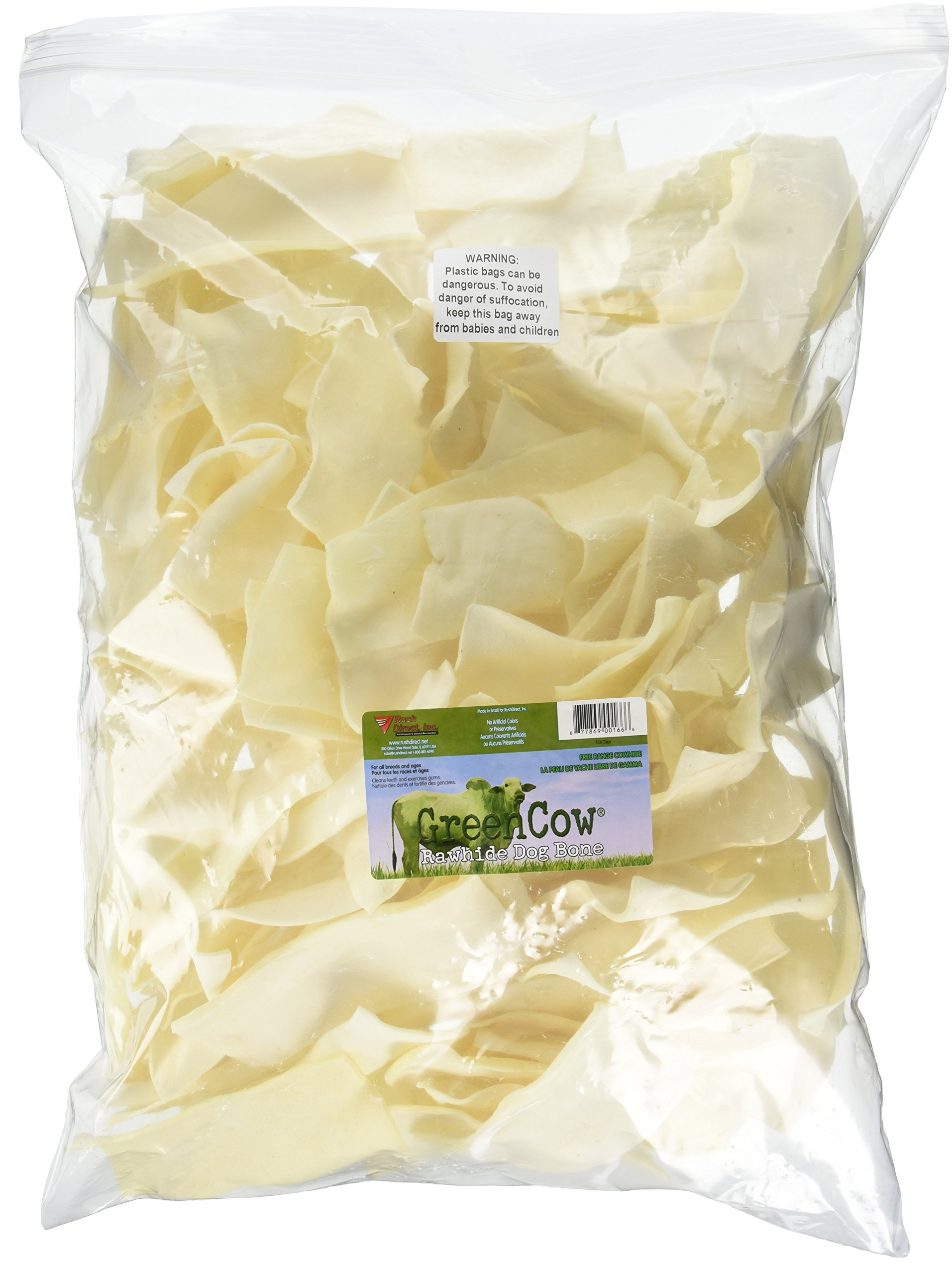 Rush Direct, Inc. Green Cow Rawhide Dog Bones, Natural Chips, 5-Pound Bag