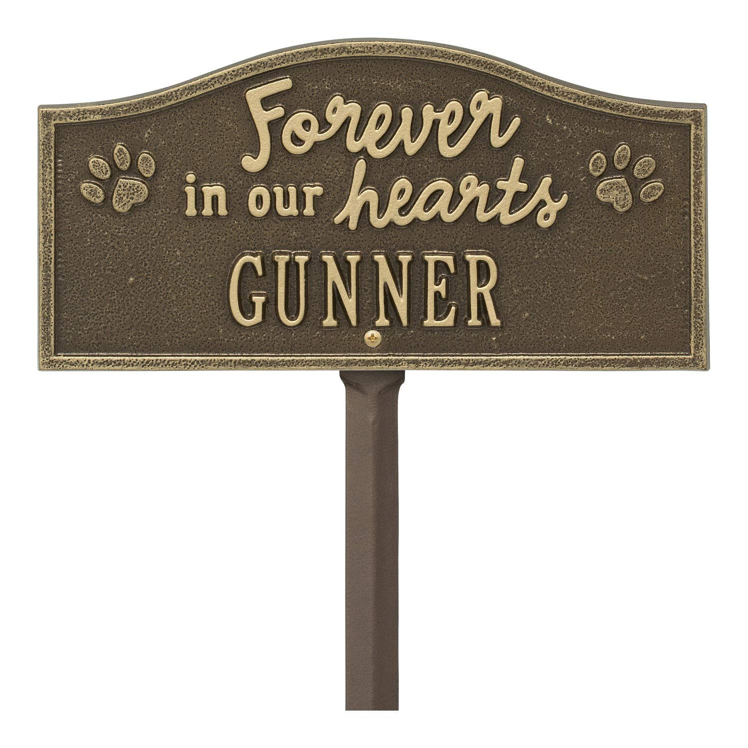 Whitehall Personalized Pet Memorial Yard Sign Custom Cast Aluminum Forever in Our Hearts Paw Print Dog or Cat Remembrance Garden Stake Grave Marker Antique Brass