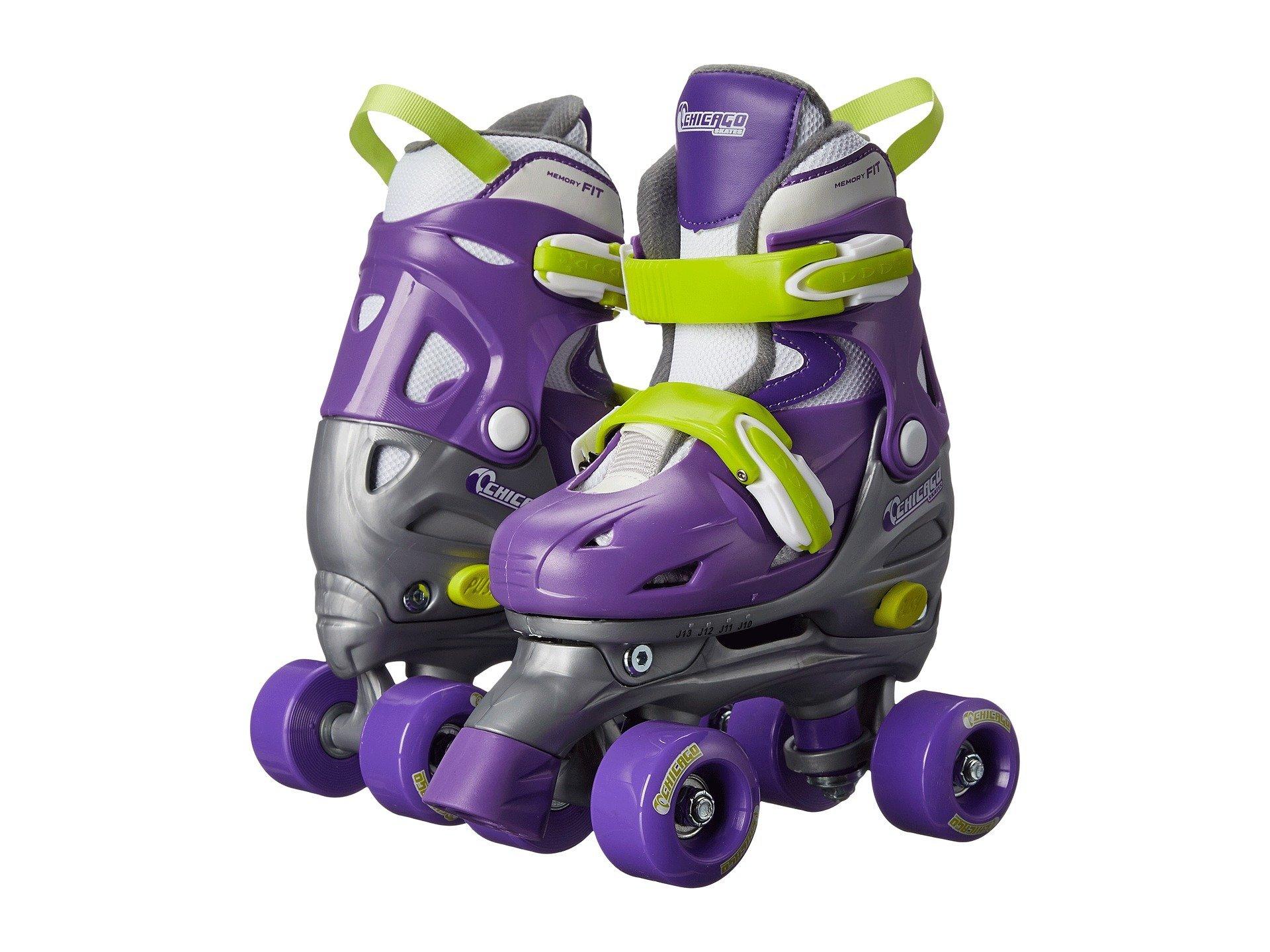 Chicago Kids Adjustable Quad Roller Skates - Purple - Small by Chicago Skates