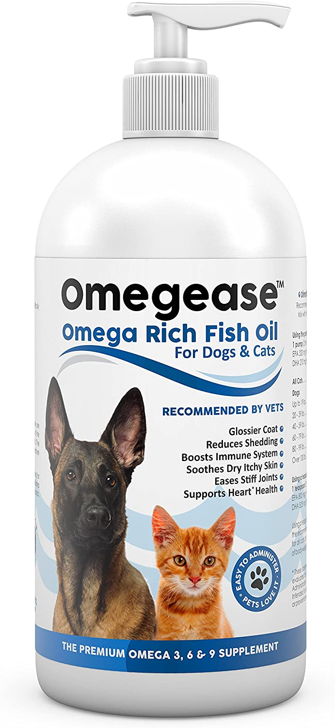 100 Pure Omega 3, 6 9 Fish Oil for Dogs and Cats. Relieves Scratching Joint Pain. Improves Skin, Coat, Immune Heart Health. All Natural Food Supplement Rich in EPA DHA Fatty Acids Made in USA