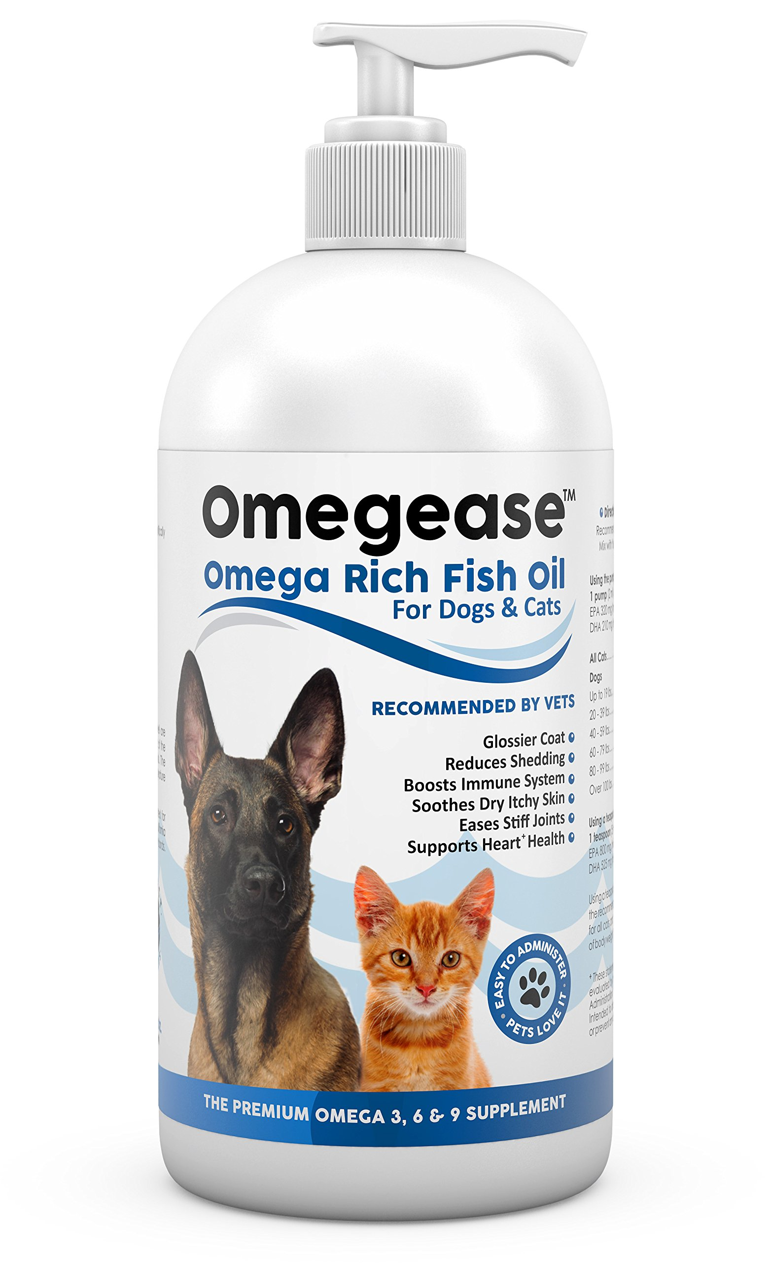100% Pure Omega 3, 6 & 9 Fish Oil for Dogs and Cats. Supports Joint Function, Immune & Heart Health. All Natural EPA + DHA Fatty Acids for Skin & Coat. Liquid Food Supplement for Pets - 32 oz by Finest For Pets