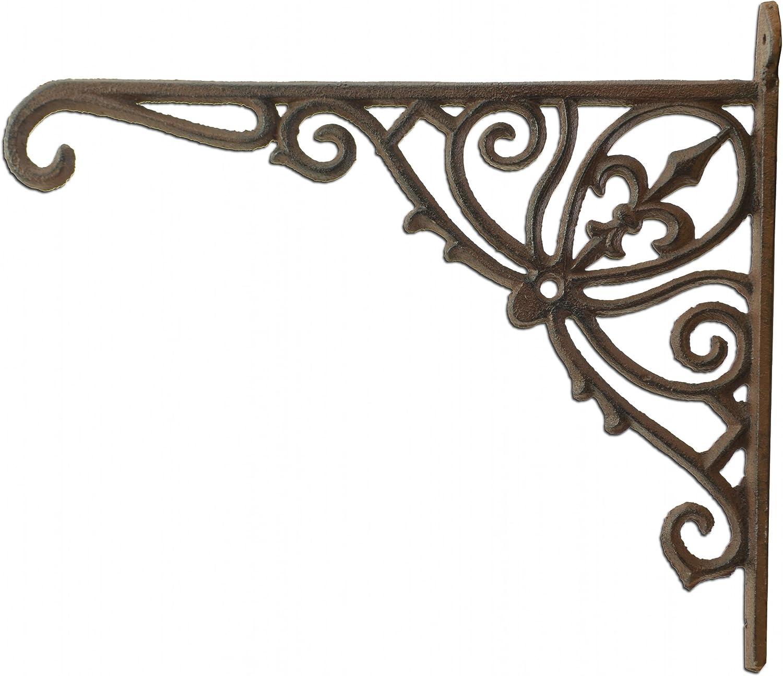 Import Wholesales Fleur De Lis Plant Hanger Cast Iron Ornate Flower Basket Hook 12 Deep