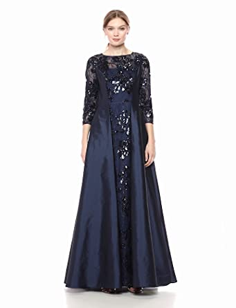 c3ffe4c781dc4b Adrianna Papell Women's Sequin Gown with Taffeta Skirt Overlay, Midnight,  ...