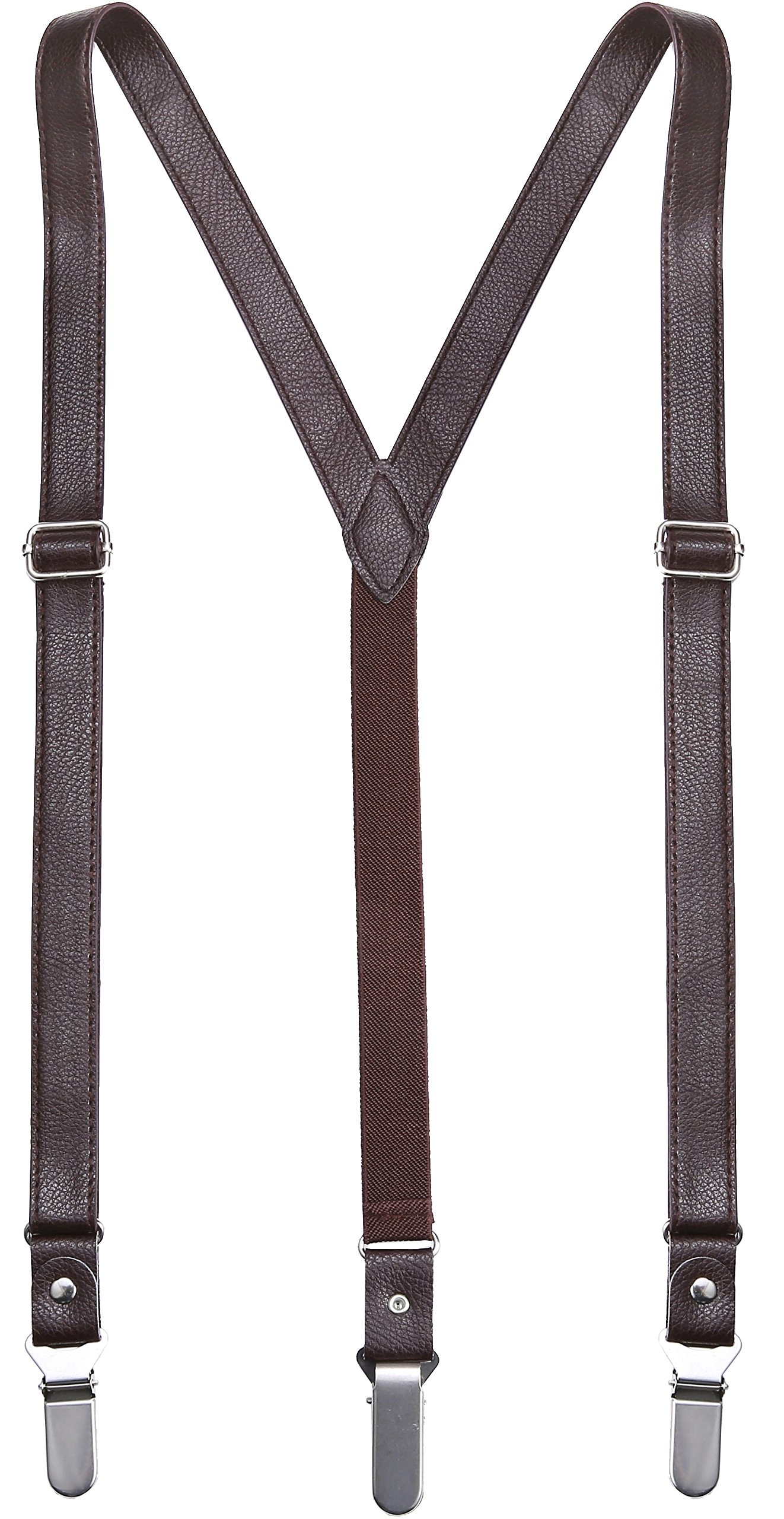 Marino Men's Leather Y-Back Adjustable Suspender with EazyGrip Clip - Soft Brown Leather - Up tp 54'' Long by Marino Avenue