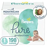 Diapers Size 1, 198 Count - Pampers Pure Protection Disposable Baby Diapers, Hypoallergenic and Unscented Protection, ONE Mon