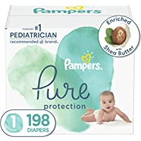 Diapers Size 1, 198 Count - Pampers Pure Protection Disposable Baby Diapers, Hypoallergenic and Unscented Protection…