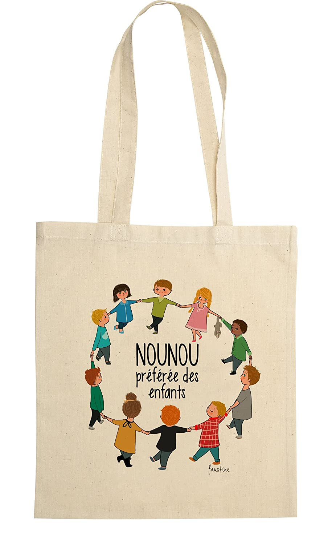 rigolobo Cadeau pour nounou : Sac Nounou préférée des enfants, signée par l'illustratrice Faustine 138
