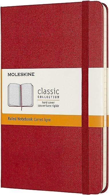 Oferta amazon: Moleskine - Cuaderno Clásico con Páginas Rayadas, Tapa Dura y Goma Elástica, Color Rojo Escarlata, Tamaño Medio 11.5 x 18 cm, 208 Páginas