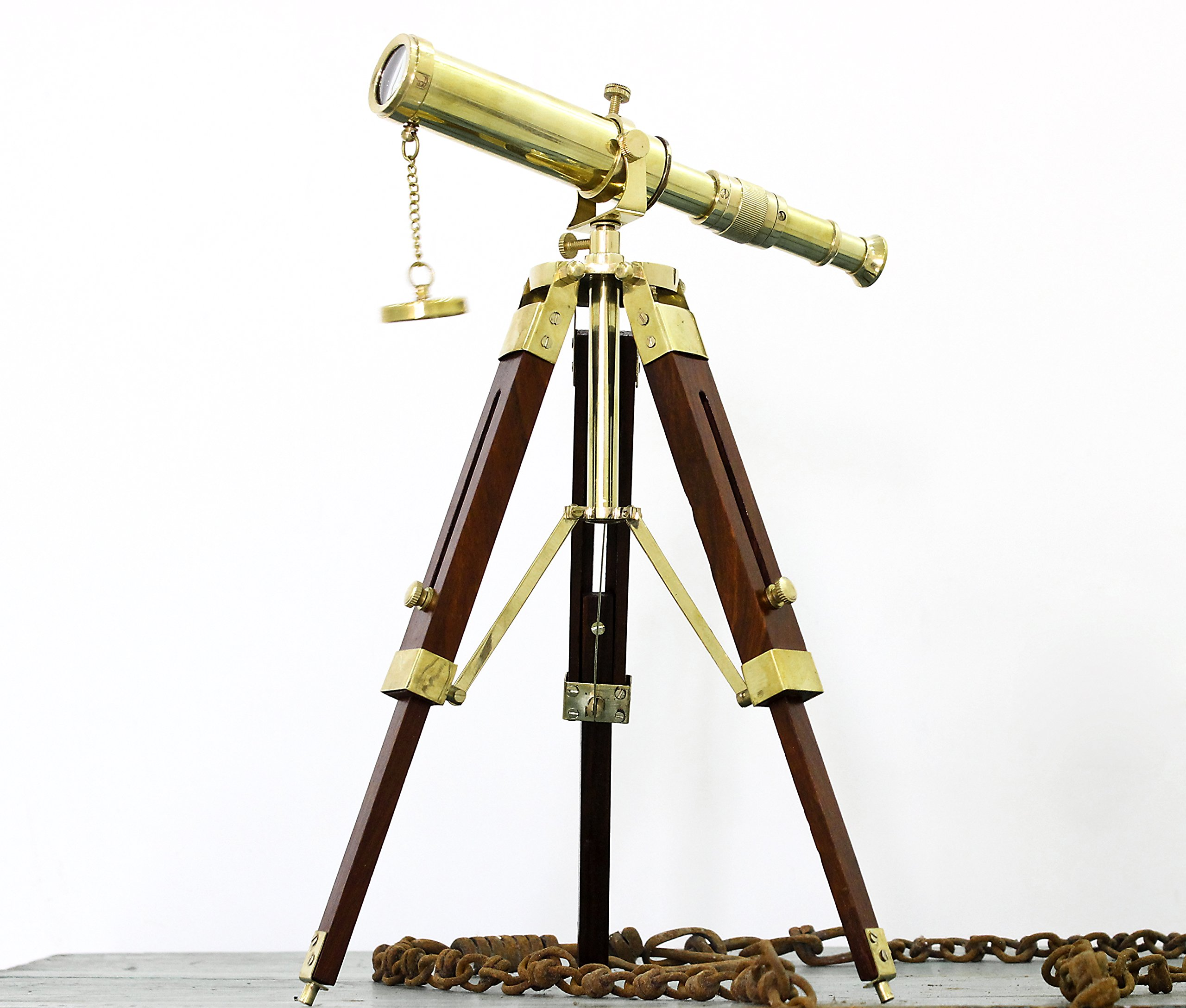 Maritime Brass Table Telescope Nautical Desktop Tripod Shiny Brass Collectible Gift Love