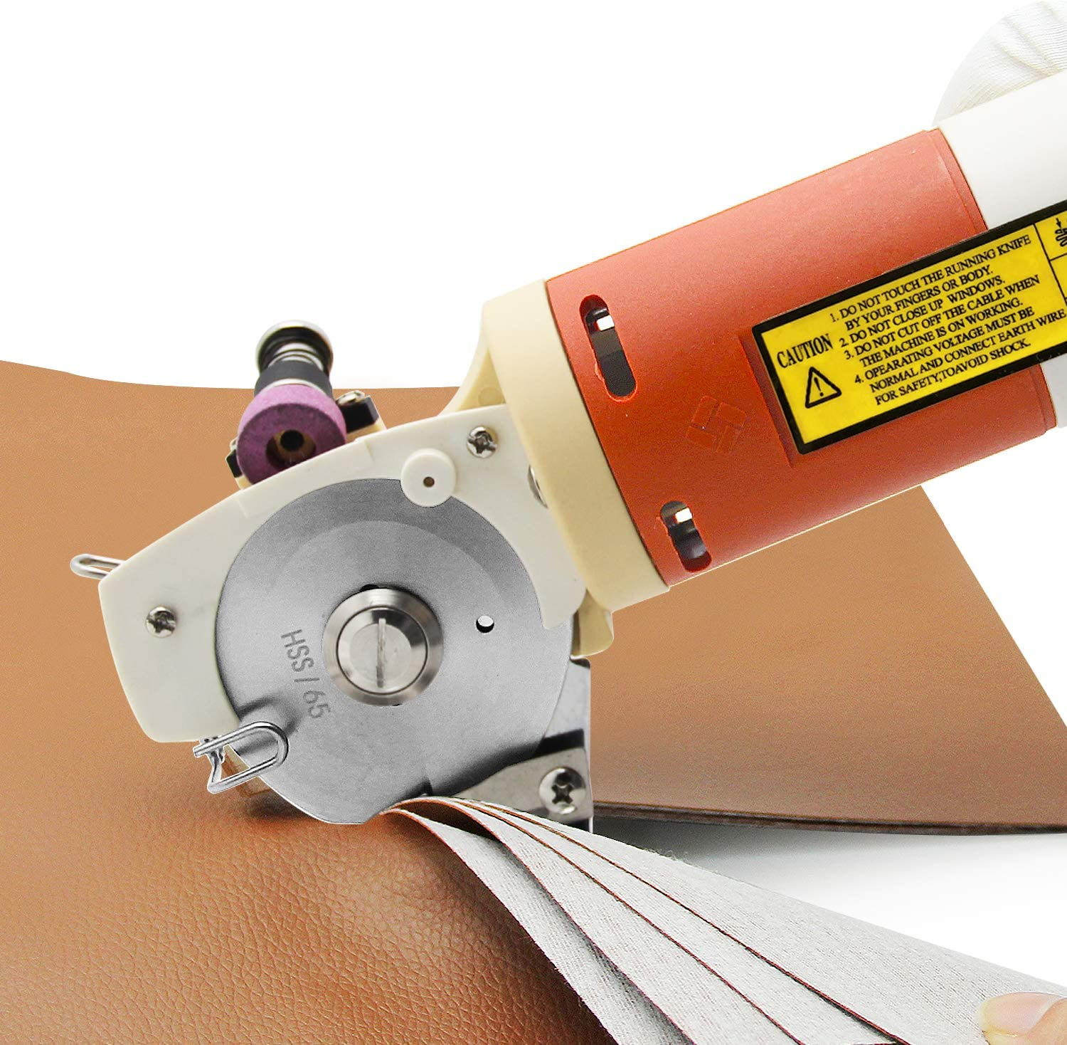 CGOLDENWALL YJ-65 Electric Rotary Fabric Cutter Scissors Cloth Cutting Machine Blade Size: 65mm Maximum Cutting Thickness: 22mm Ideal for Multi-Layer Clothing Textile Leather Paper with Spare Blade 81LkLycxQnLSL1500_