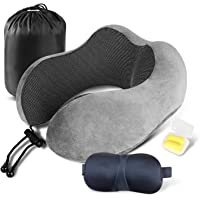 Shengsite Pure Memory Foam Neck Travel Pillow with 3D Sleep Mask, Earplugs, and Travel Bag (Grey)