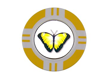 Magnético de Poker Chip y mariposa Amarilla marcador de pelota de ...