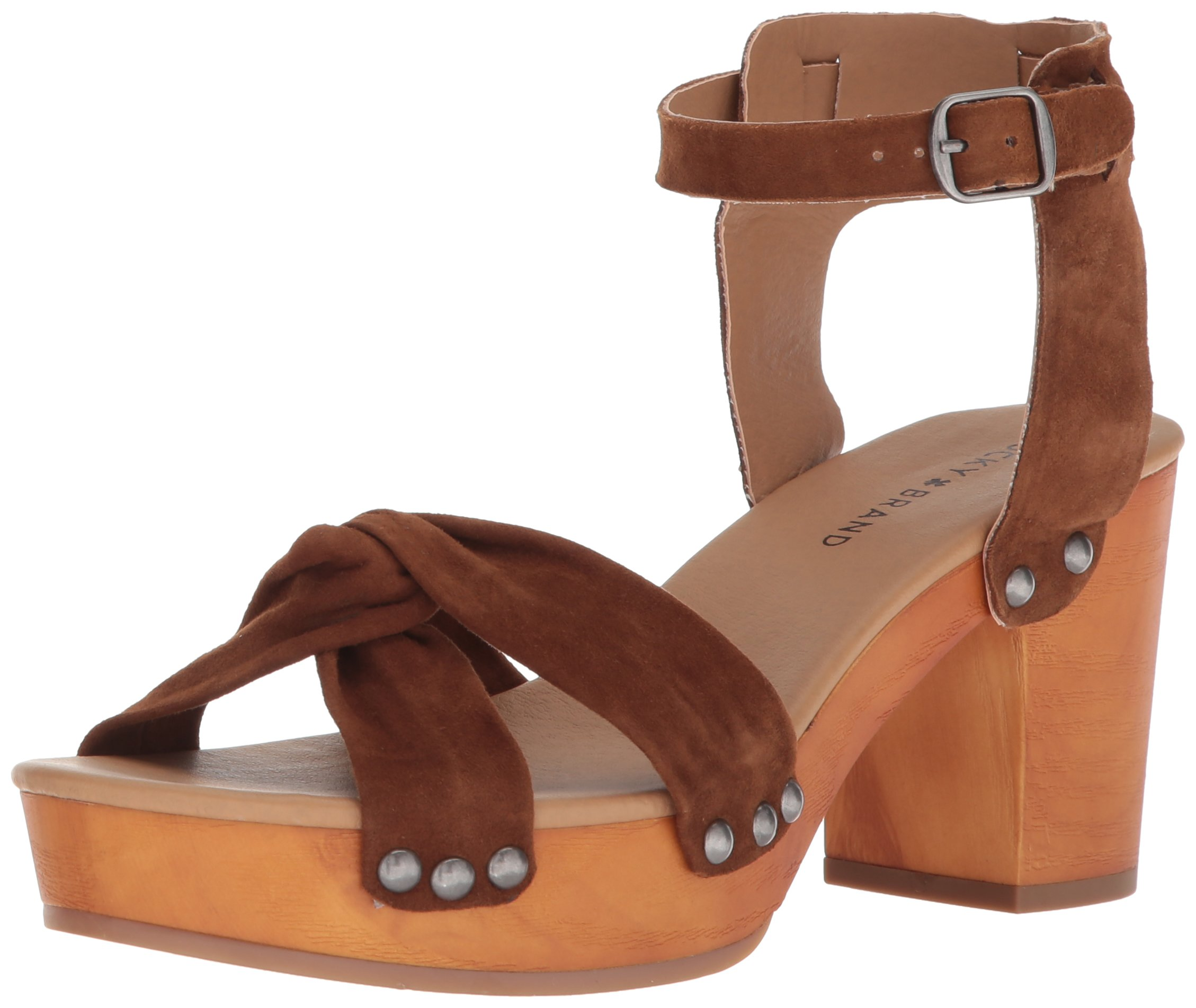 Lucky Brand Women's Whitneigh Heeled Sandal, Cedar, 7.5 Medium US