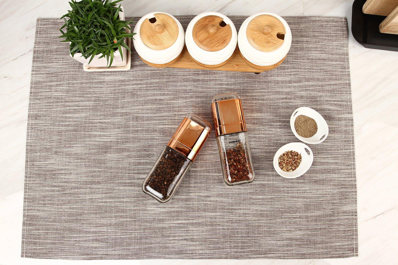 Youlixuess High Grips Glass Salt or Pepper Grinder Glass Body Seasoning Bottle Gourmet Precision Mechanism and Premium Peppercorns