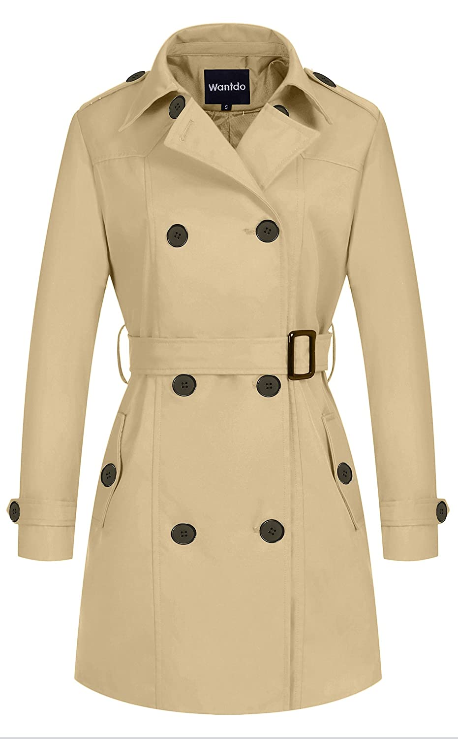 Wantdo Women's Double-Breasted Trench Coat with Belt Wantdo600