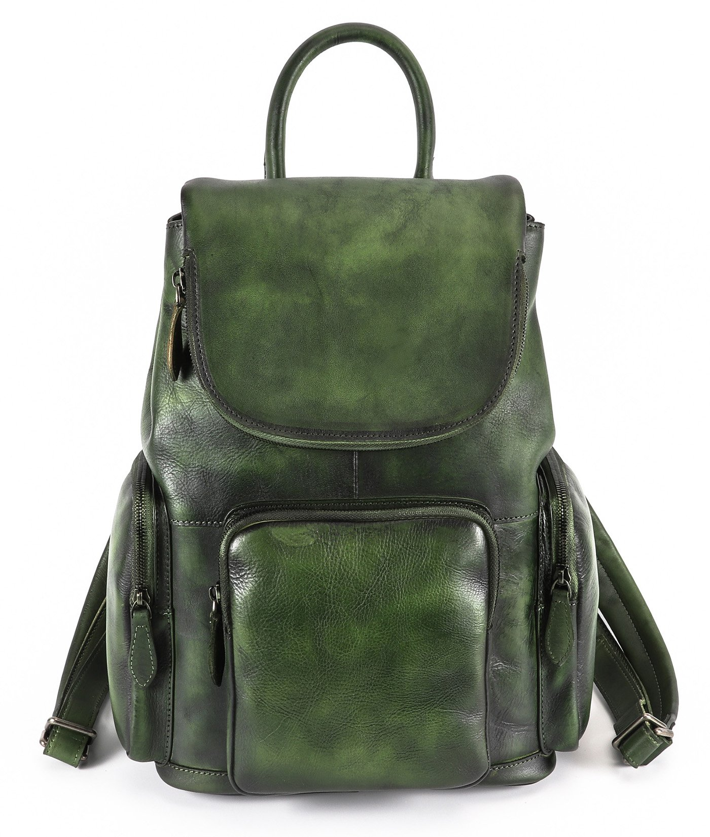 Sophmoda Vintage Style Genuine Cow Leather Backpack Women's Rucksack shoulder bag-A352 (Green) by Sophmoda
