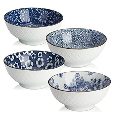 Y YHY Ceramic Cereal, Soup, Salad Bowls, 16 Ounces Japanese bowls, Set of 4 Assorted Designs, Blue and White