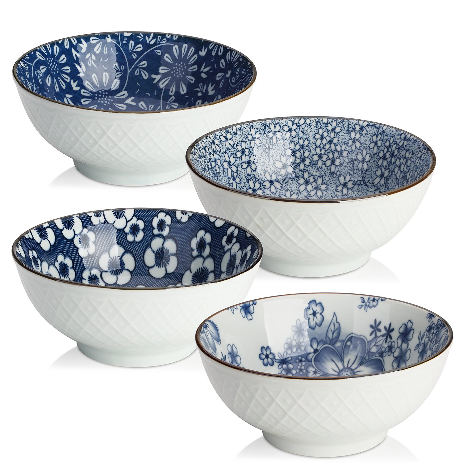 DOWAN Ceramic Cereal, Soup, or Pasta Bowls, Set of 4 Assorted Designs, Blue and White