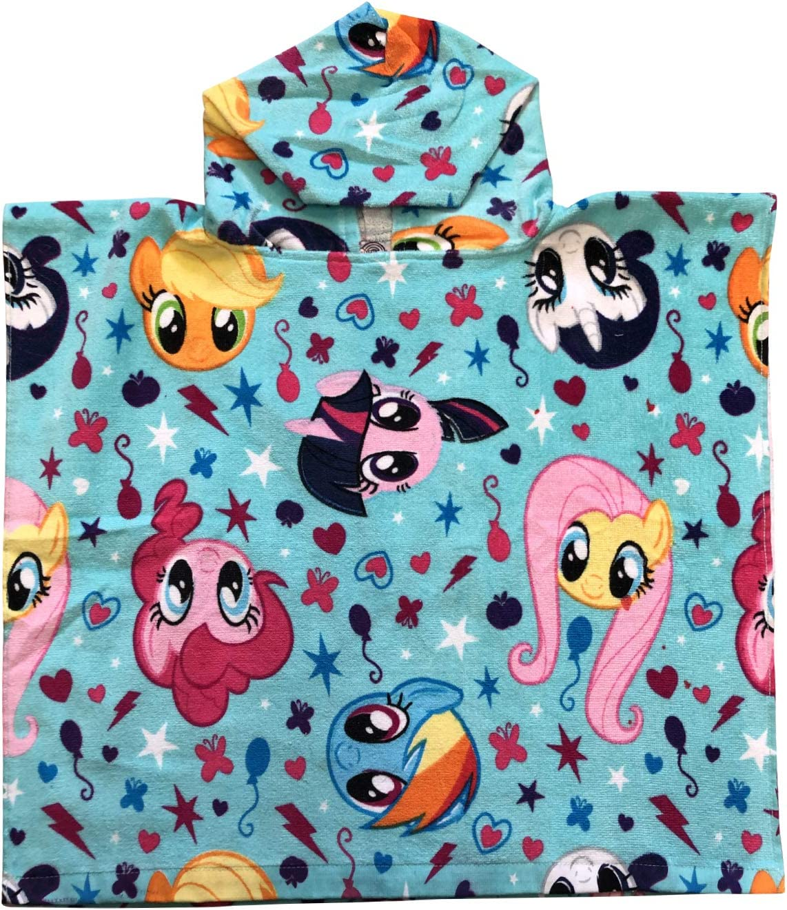 My Little Pony Twilight Sparkle, Applejack, Pinkie Pie, Rainbow Dash, Fluttershy & Rarity Blue Hooded Poncho Towel