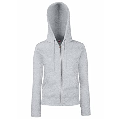 Premium Hooded Sweatjacke Lady Fit Farbe: Heather Grey Größe: M