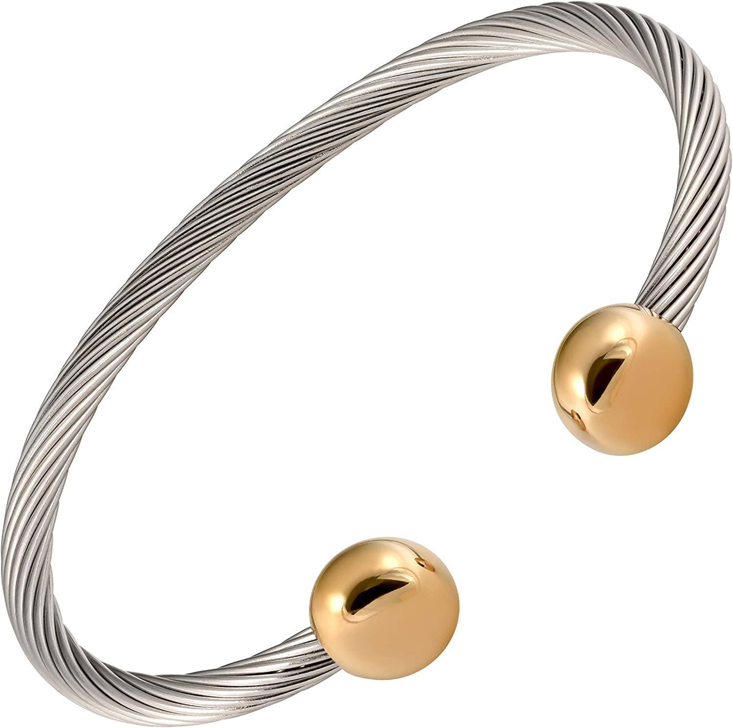 MAGNETJEWELRYSTORE 2-Tone Stainless Steel Magnetic Therapy Bracelet: Health & Personal Care