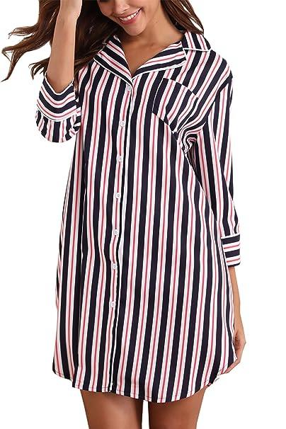 Giorzio Women Cotton Nightgown Button Down Striped Boyfriend Sleep Shirt  Dress ef81ebee575e