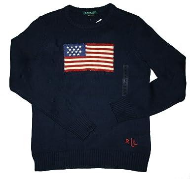U S Polo Ralph Lauren Marjanie Ls Flag Damen Pullover Navy M