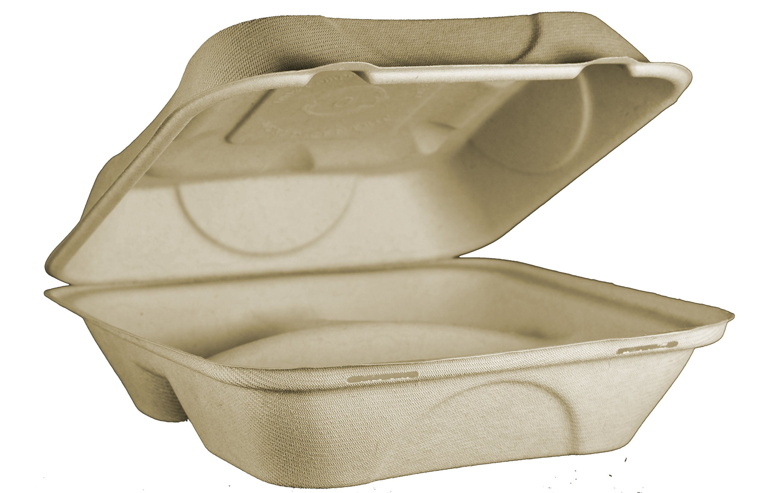 World Centric TO-SC-U9T Compostable Unbleached Plant Fiber 3 Compartment Clamshell Take Out Containers, 9'' x 9'' x 3'' (Pack of 300)