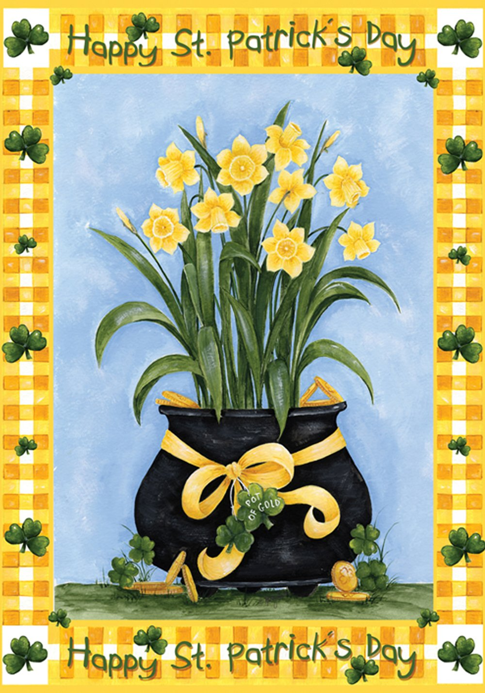 Toland Home Garden Lucky Daffodils 12.5 x 18 Inch Decorative Happy St Patrick's Day Shamrock Spring Flower Garden Flag