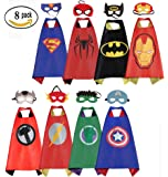 Mizzuco Comics Cartoon Dress up Costumes Satin Capes with Felt Masks for Boys (Set of 8)