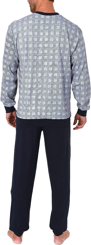 70-191 101 90 410 Herren Pyjama Schlafanzug lang mit B/ündchen Karo Optik auch in /Übergr/össen bis Gr