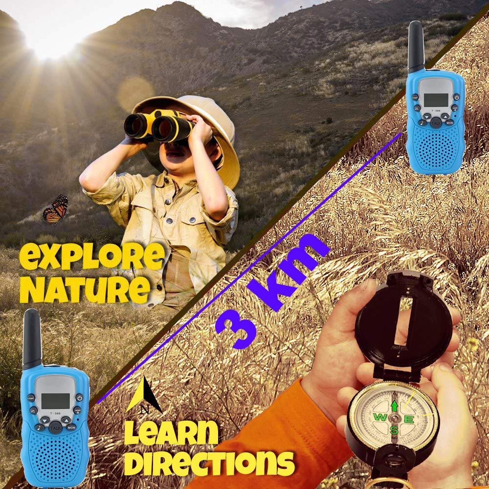 Woltechz Outdoor Toy Explorer Kit for Kids, 2packs Walkie Talkies with 3KM Long Rang 22 Channels 2 Way Radio/ Binoculars for Kids/Flashlight/ Compass and Adventure kit for Boys or Girls by Woltechz (Image #2)