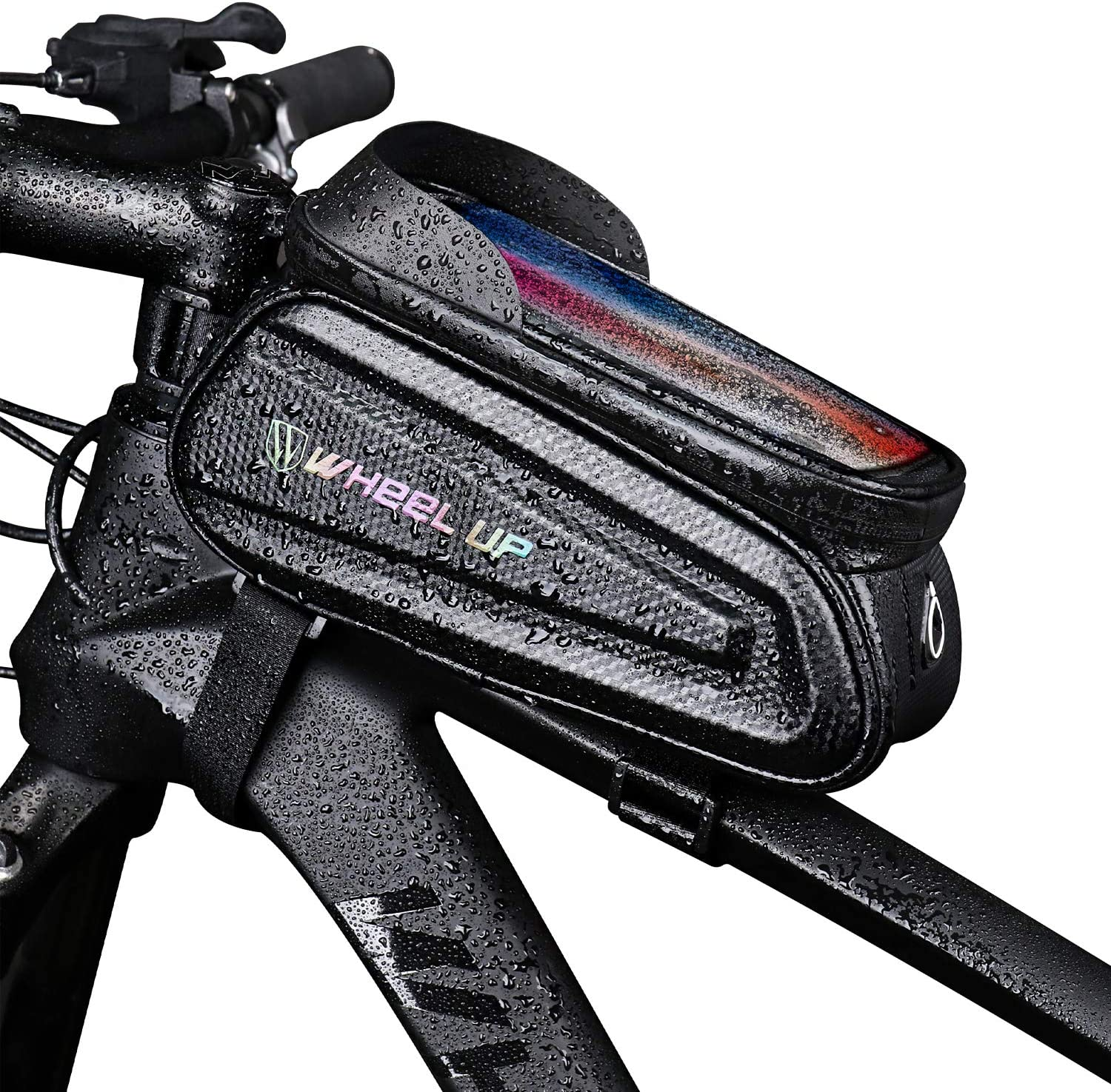 KMM - Bike Bicycle Phone Mount Bags, Waterproof Bike Front Tube Handlebar Storage Bag with Touch Screen Sun Visor Large Capacity Phone Holder Case, Cycling Top Tube Frame Bag for Phone Below 6.5 Inch : Sports & Outdoors